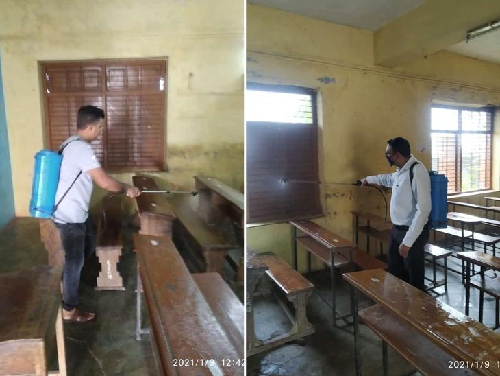 ડેસર તાલુકાની તમામ શાળાઓમાં સેનિટાઈઝ કરી સાફ સફાઈ કરાઈ ડેસર,Desar - Divya Bhaskar
