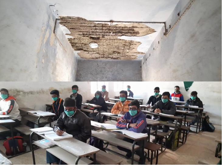 વીરપુરની જલારામજી વિદ્યાલયની હાલત ખખડધજ, ધો.10ના વિદ્યાર્થીઓને ભણવામાં કોરોનાનો નહીં પણ સ્કૂલ પડવાનો ડર, ચાલુ ક્લાસે છતમાંથી પોપડા પડે છે|રાજકોટ,Rajkot - Divya Bhaskar