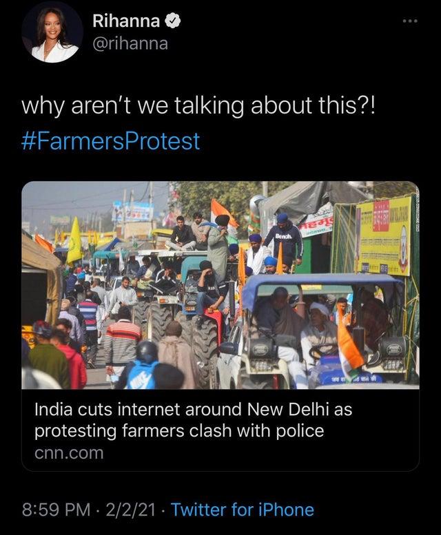 પોપ સ્ટાર રિહાના ખેડૂત આંદોલનના સમર્થનમાં, સોશિયલ મીડિયા પર મેસેજ કરી પૂછ્યું- ચર્ચા કેમ નહીં?, રસ્તા પર ભોજન લઈને ટિકૈતે કહ્યું- આંદોલન ઓક્ટોબર સુધી ચાલશે|ઈન્ડિયા,National - Divya Bhaskar