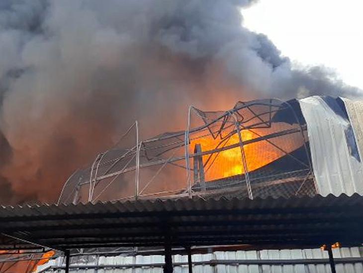 વરેલીના કેમિકલ ગોડાઉનમાં બ્લાસ્ટ સાથે ભીષણ આગ લાગતા 2 દાઝ્યા|પલસાણા,Palsana - Divya Bhaskar