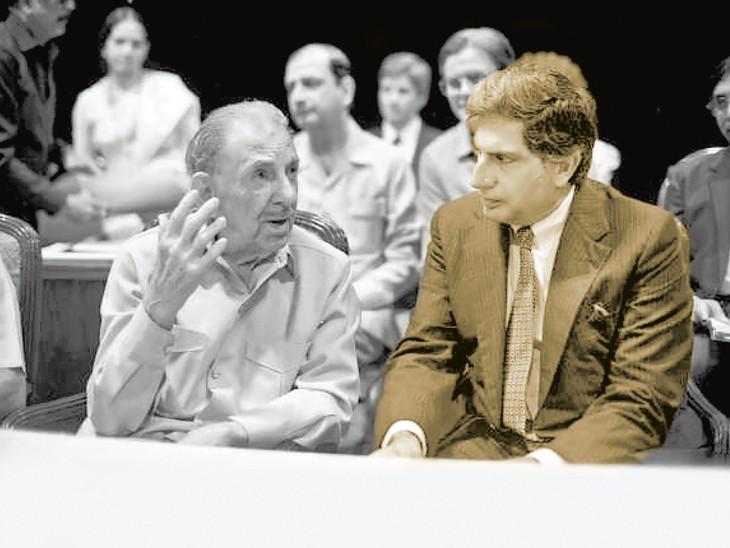 'ભારત રત્ન' સાથે દેશનું 'રતન' : જેઆરડી તાતા સાથે રતન તાતાનો યાદગાર ફોટો. 1992માં જેઆરડીને ભારત રત્ન મળ્યો હતો.