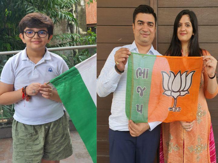વ્રજેશ ઉનડકટ વોર્ડ નંબર 21ના ભારતીય જનતા પાર્ટીના ઉમેદવાર છે; 12 વર્ષીય દીકરો તેમના માટે પ્રચાર કરે છે.