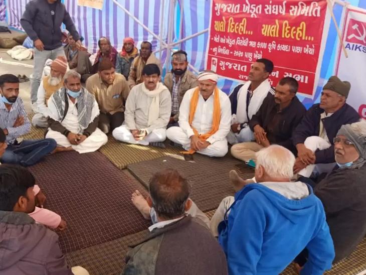 મોટી સંખ્યામાં ગુજરાતના ખેડૂતો દિલ્હી ખેડૂત આંદોલનમાં જોડાયા હતા.