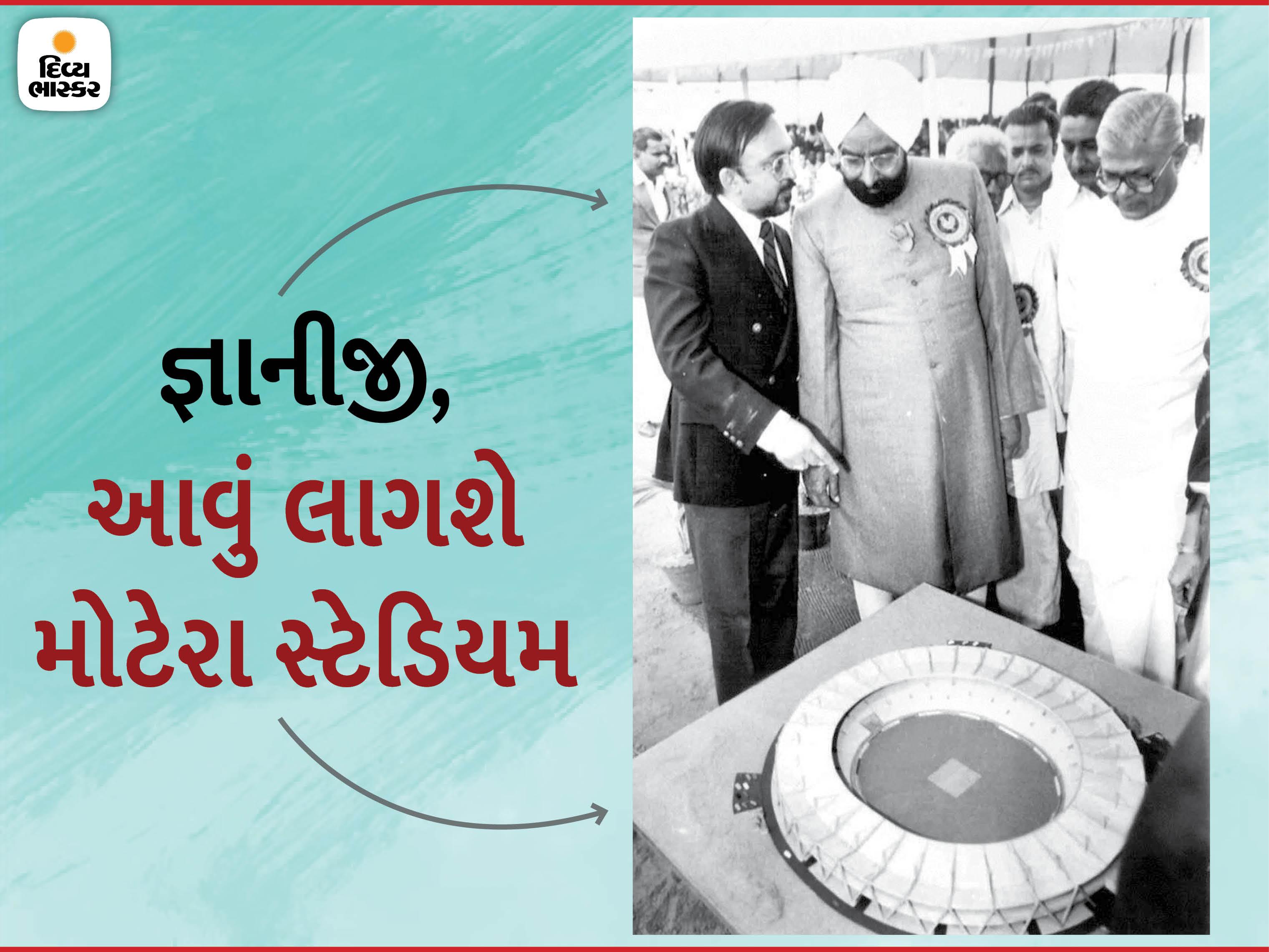 તત્કાલીન રાષ્ટ્રપતિ જ્ઞાની ઝૈલસિંહને મોટેરા સ્ટેડિયમનું સ્ટ્રક્ચર બતાવતા મૃગેશ જયકૃષ્ણ (કાળા કોટમાં) અને તેમની સાથે ગુજરાતના એ સમયના મુખ્યમંત્રી માધવસિંહ સોલંકી. - Divya Bhaskar