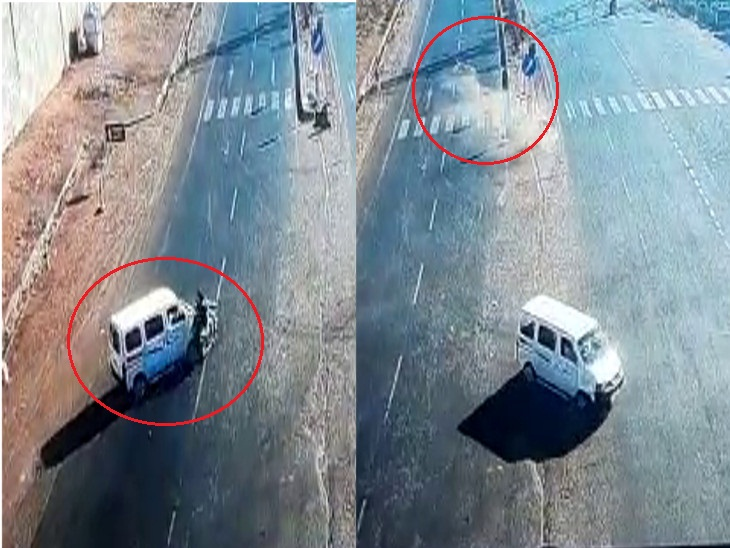 રાજકોટમાં એકસાથે બે અકસ્માત, ગોંડલ જેતપુર રોડ ઉપર ટ્રકે બાઈકને અડફેટે લેતા દંપતી ખંડિત થયું, તો મોટરસાયકલ તેમજ ઈકો કાર વચ્ચે ટક્કર, એકનું ઘટના સ્થળે મોત, ઘટનાના CCTV ફૂટેજ સામે આવ્યા રાજકોટ,Rajkot - Divya Bhaskar