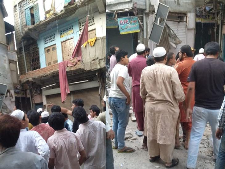 કાલુપુર ચપ્પલ બજારમાં મકાન ધરાશાયી, મકાનમાં ફસાયેલા 10 લોકોને રેસ્ક્યૂ કરાયા - Divya Bhaskar