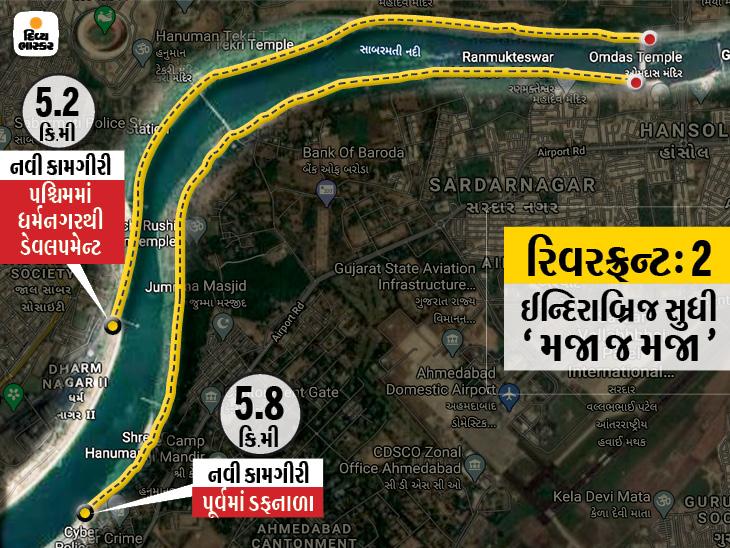 સાબરમતી નદીના બંને છેડે રિવરફ્રન્ટ ઈન્દિરાબ્રિજ સુધી લંબાશે, ગ્રીનરી વચ્ચે બાળકો માટે પ્લે ગાર્ડન-ઓપન જિમ એરિયા બનશે|અમદાવાદ,Ahmedabad - Divya Bhaskar