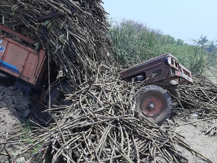 સાયણમાં શેરડી ભરેલું ટ્રેક્ટર ખાડામાં ખાબકતાં કચડાયેલા 2 મોતને ભેટ્યા, ખેતરમાંથી શેરડી ભરી સુગરમાં જતી વેળા અકસ્માત|ઓલપાડ,Olpad - Divya Bhaskar