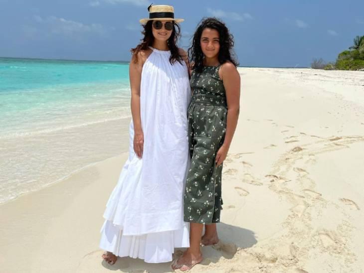 પતિ વૈભવ રેખી સાથે માલદીવ્સમાં હનીમૂન પર છે દિયા મિર્ઝા, એક્ટ્રેસે સાવકી દીકરી સાથે ફોટો શેર કર્યો તો ફેન્સે ઘણા વખાણ કર્યા|બોલિવૂડ,Bollywood - Divya Bhaskar