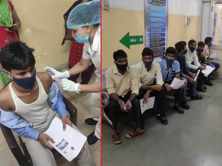 સિવિલ હોસ્પિટલના વેક્સિનેશન સેન્ટર પર ભીડ, 5ને બદલે માત્ર 2 કાઉન્ટર ચાલુ રહેતા અવ્યવસ્થા સર્જાઈ, બંધ કાઉન્ટર તાત્કાલિક શરૂ કરાયા|અમદાવાદ,Ahmedabad - Divya Bhaskar