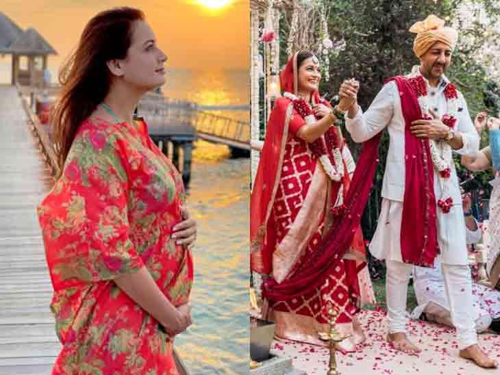 લગ્નના દોઢ મહિના બાદ જ દિયા મિર્ઝા પ્રેગ્નન્ટ, બેબી બમ્પ ફ્લોન્ટ કરતી તસવીર શૅર કરી|બોલિવૂડ,Bollywood - Divya Bhaskar