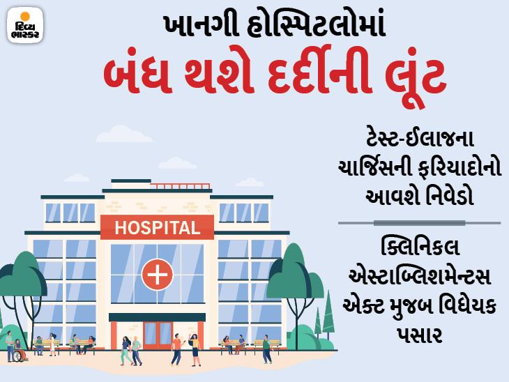 આરોગ્ય સેવાના નામે ધીકતો ધંધો કરવાની ખાનગી હોસ્પિટલો-ડોક્ટરોની વૃત્તિ પર અંકુશ આવશે, દરેક ટ્રીટમેન્ટના ચાર્જના બોર્ડ મૂકવા પડશે|ગાંધીનગર,Gandhinagar - Divya Bhaskar