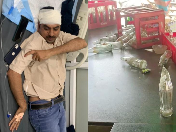 રાજકોટમાં PSI પર કુખ્યાત શખસનો સોડા બોટલથી હુમલો, હિંમત હાર્યા વગર લોહીલુહાણ હાલતમાં આરોપીને ઝડપ્યો, માથામાં 4 ટાકા આવ્યા|રાજકોટ,Rajkot - Divya Bhaskar