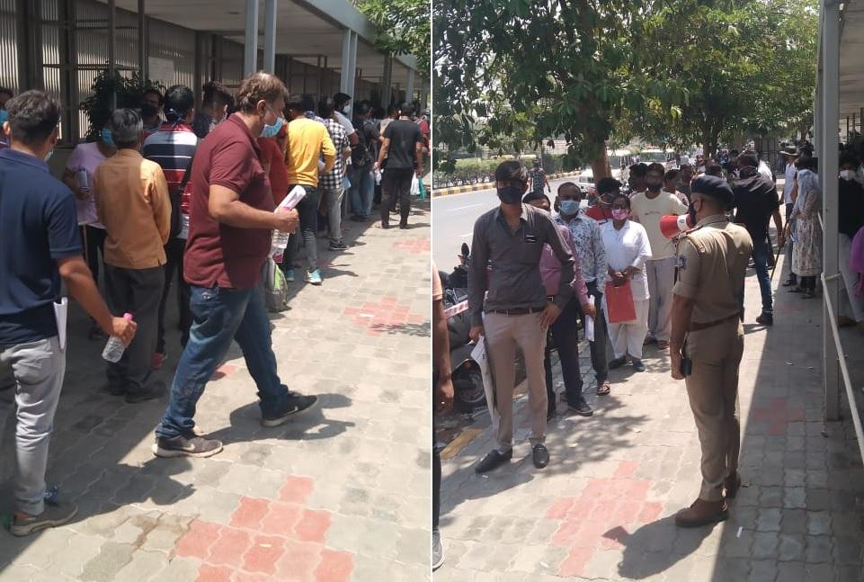 અમદાવાદમાં રેમડેસિવિર માટે 1 કિમી લાંબી લાઈન, AMCએ લારી-ગલ્લા બંધ કરાવતા પાણીના પણ ફાંફાં, સોલા પોલીસે તરસ મટાડી અમદાવાદ,Ahmedabad - Divya Bhaskar