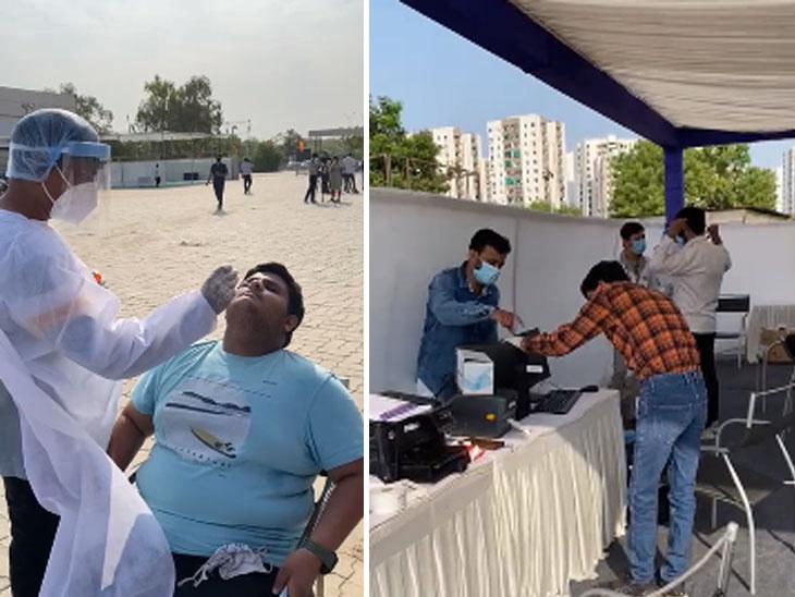 ડ્રાઈવ થ્રુ ટેસ્ટિંગમાં લાઇન થતાં લોકો ગાડી પાર્ક કરીને વોલ્ક ઇનમાં ટેસ્ટ કરાવવા આવ્યા, એક ખુરશી પર જ અનેક લોકો બેઠા|અમદાવાદ,Ahmedabad - Divya Bhaskar
