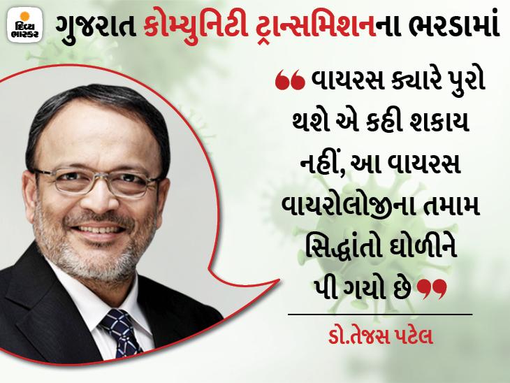 ડો.તેજસ પટેલે કહ્યું-ગુજરાત કોરોના ટ્રાન્સમિશનથી આગળ નીકળી હર્ડ ઇમ્યુનિટી તરફ, એક ઘર છોડીને એક ઘરે કોરોના ઊભો છે અમદાવાદ,Ahmedabad - Divya Bhaskar