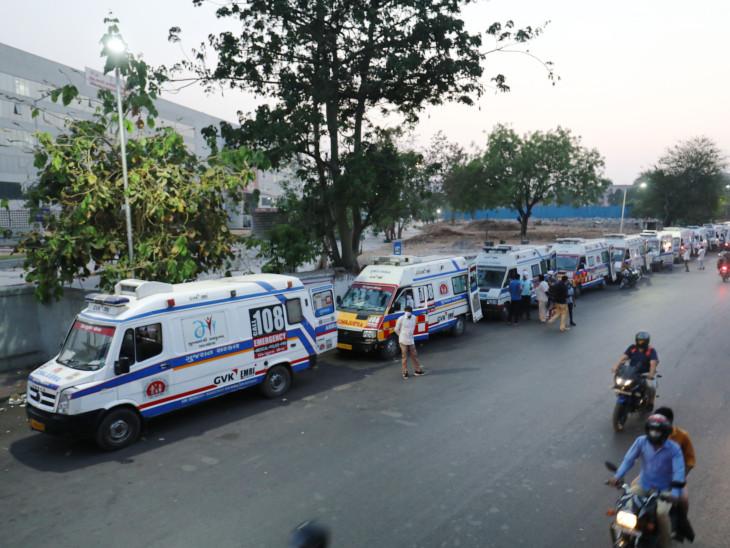 108નો રિસ્પોન્સ ટાઇમ 3થી 4 મિનિટથી વધીને દોઢ-પોણાબે કલાકે પહોંચ્યો, સિવિલ બહાર 45 એમ્બ્યુલન્સની લાઇન લાગી|અમદાવાદ,Ahmedabad - Divya Bhaskar