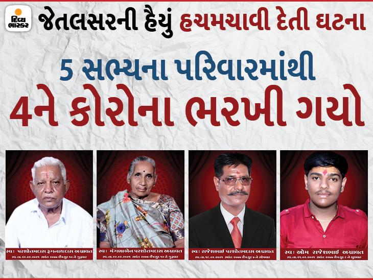જેતપુરમાં 3 દિવસમાં જ માતા-પિતા, પુત્ર અને પૌત્રનો જીવનદીપ બુઝાયો, 5 સભ્યના પરિવારમાં એકમાત્ર મહિલા બચી|રાજકોટ,Rajkot - Divya Bhaskar