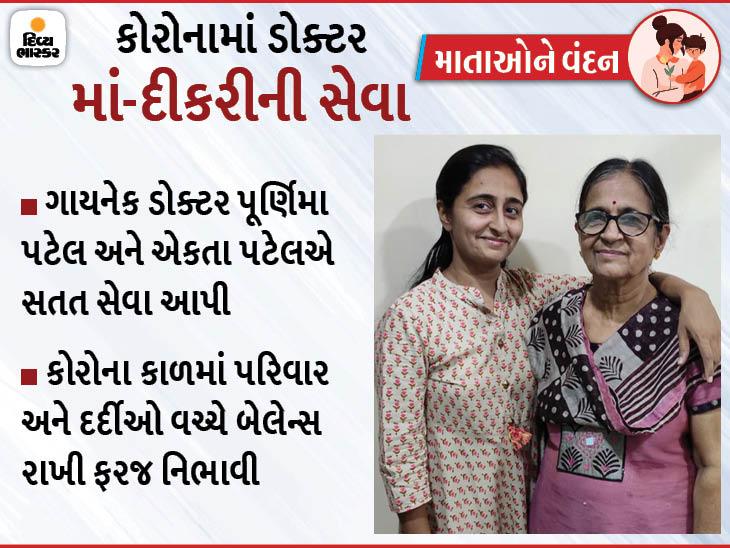 સુરતમાં ગાયનેકોલોજિસ્ટ માં-દીકરીએ કોરોનાના પડકાર વચ્ચે સગર્ભાઓની સેવા કરવાનો વ્યવસાયિક ધર્મ નિભાવ્યો|સુરત,Surat - Divya Bhaskar