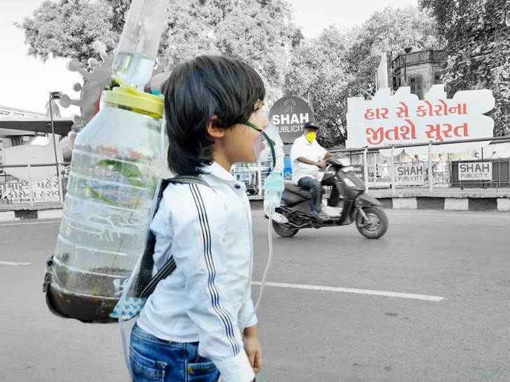 4 વર્ષના દિયાંશ દૂધવાલાની પ્લાન્ટ સાથેની તસવીર - Divya Bhaskar