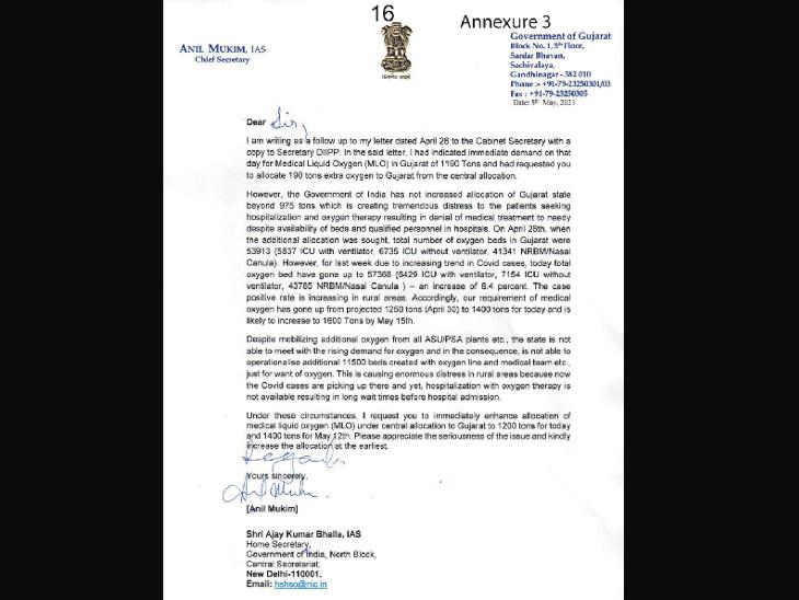 રાજ્યના મુખ્ય સચિવ અનિલ મુકીમે કેન્દ્રીય ગૃહસચિવને પત્ર