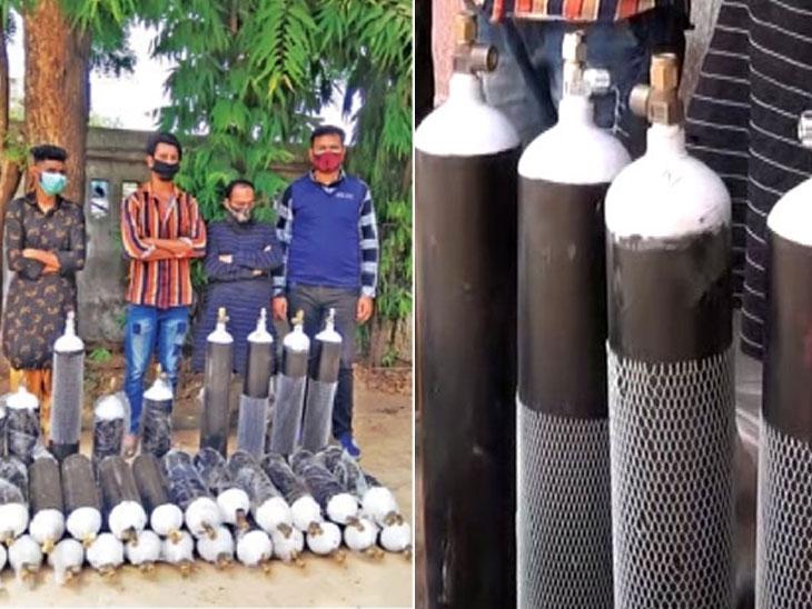 ઓક્સિજન સિલિન્ડરની કાળાબજારી કરનારા બે શખ્સની અમદાવાદ ક્રાઈમ બ્રાન્ચે ધરપકડ કરી, 5000નું સિલિન્ડર 15000માં વેચતા હતા|અમદાવાદ,Ahmedabad - Divya Bhaskar
