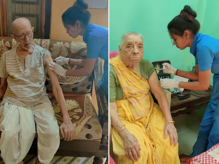 94 વર્ષના વૃદ્ધ ડો.પી.ટી.દવે અને 91 વર્ષીય ઇન્દુબેન દેસાઇએ વેક્સિનના બંને ડોઝ લીધા હતા. - Divya Bhaskar