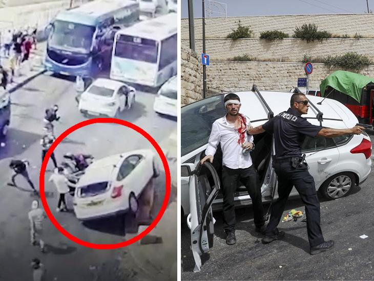 પેલેસ્ટાઇનના ટોળાએ કાર પર પથ્થર મારો કર્યો, પોલીસકર્મીએ ફાયરિંગ કરી યુવકને બચાવ્યો|વર્લ્ડ,International - Divya Bhaskar