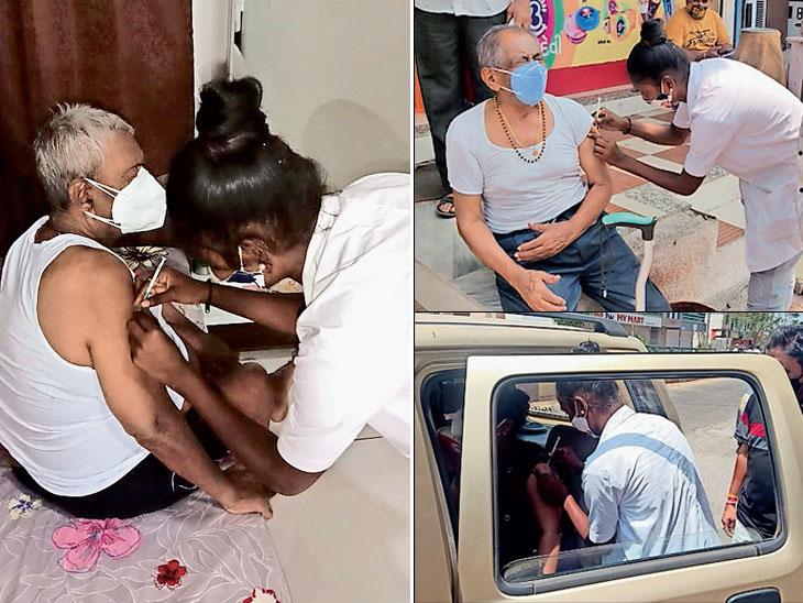 જે વૃદ્ધો ચાલી શકે તેમ નથી એવા દર્દીઓને બારડોલી પાલિકાએ ઘરે જઈ વેક્સિન આપી - Divya Bhaskar