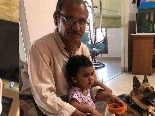 આરપી સિંહના બાળક સાથે તેમના પિતા શિવપ્રસાદ સિંહ. (ફાઇલ ફોટો).