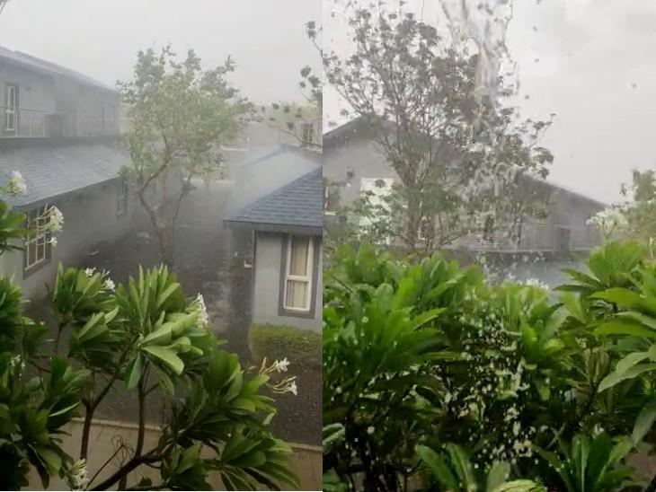રાજકોટના વાતાવરણમાં પલ્ટો, મિની વાવાઝોડું ફૂંકાયુ, ધૂળની ડમરી ઉડી, બેડી હડમતીયા અને ગવરીદળમાં વીજળીનાં કડાકા સાથે ધોધમાર વરસાદ|રાજકોટ,Rajkot - Divya Bhaskar