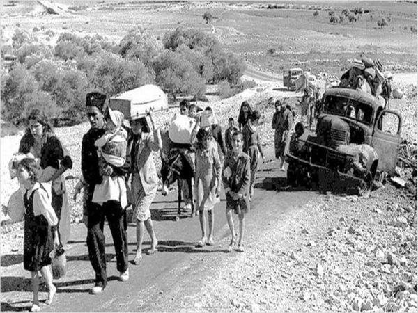 યુદ્ધ દરમિયાન પેલેસ્ટાઈનથી સ્થળાંતર કરી રહેલા લોકો.