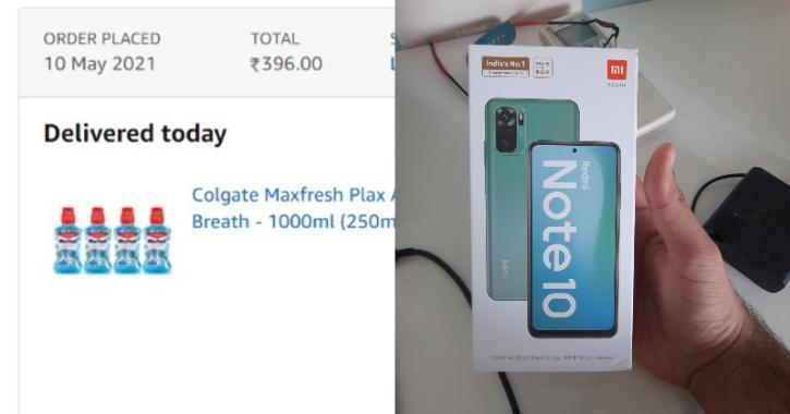 મુંબઈના યુવકે ઓનલાઈન માઉથવોશ ઓર્ડર કર્યું, કંપનીએ માઉથવોશને બદલે 'રેડમી નોટ 10' ફોન આપ્યો|લાઇફસ્ટાઇલ,Lifestyle - Divya Bhaskar