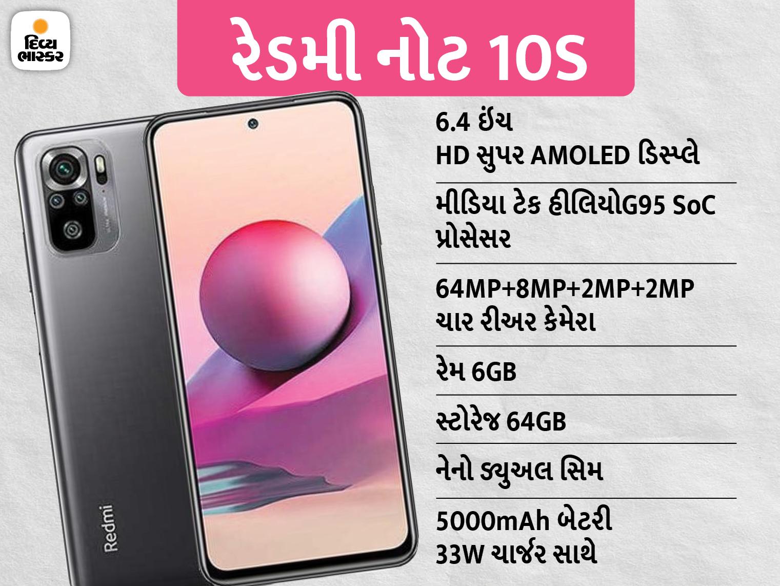 64MPના પ્રાઈમરી રિઅર કેમેરા અને 5000mAhની બેટરીથી સજ્જ 'રેડમી 10S' સ્માર્ટફોન ભારતમાં લોન્ચ થયો, કિંમત ₹14,999|ગેજેટ,Gadgets - Divya Bhaskar