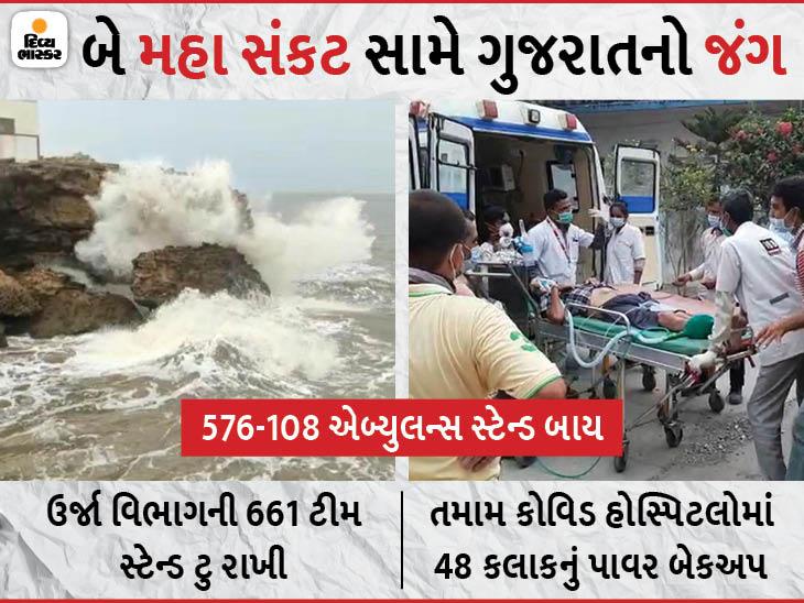 એકબાજુ મહામારી અને બીજી બાજુ મહા વિનાશક વાવાઝોડું, 161 ICU એબ્યુલન્સ સ્ટેન્ડ બાય અને ઓક્સિજન પહોંચાડવા 35 ગ્રીન કોરિડોર|અમદાવાદ,Ahmedabad - Divya Bhaskar