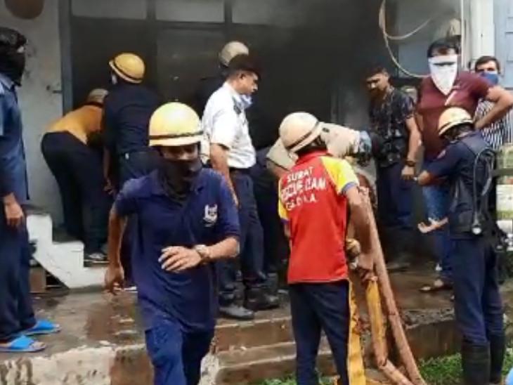 સુરતમાં થર્મોકોલની ઓફીસમાં અચાનક આગ લાગી, ફાયર વિભાગે ભારે ધુમાડા વચ્ચે આગને કાબૂમાં લીધી|સુરત,Surat - Divya Bhaskar