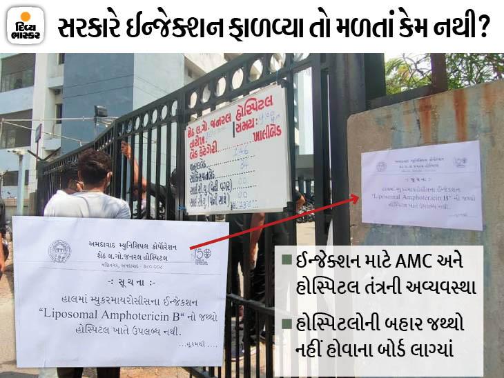 સરકાર કહે છે, '5800 એમ્ફોટેરેસિન ઇન્જેક્શન ફાળવ્યાં', અમદાવાદમાં LG હોસ્પિટલ બહાર જથ્થો નહીં હોવાના બોર્ડ લાગ્યાં|અમદાવાદ,Ahmedabad - Divya Bhaskar