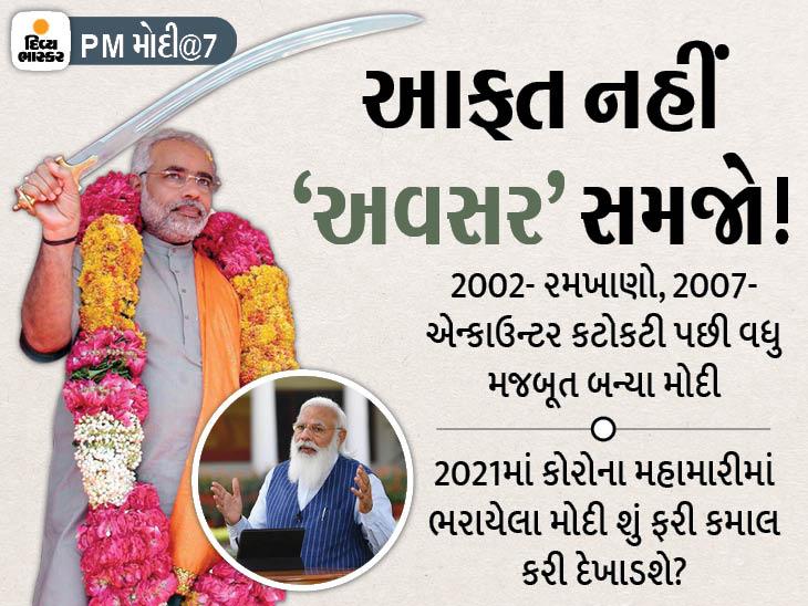 PM તરીકેનાં 7 વર્ષમાં પહેલીવાર મોદીની ઇમેજને 'કોરોના'નું ગ્રહણ લાગ્યું, આ વખતે 'આફતને અવસર'માં કેમના પલટશે 'મહારથી' અમદાવાદ,Ahmedabad - Divya Bhaskar