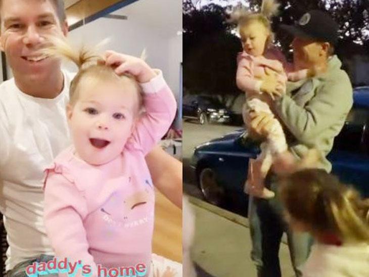 પહેલી તસવીર વોર્નરની ઘરે પહોંચ્યા પછી તેની પુત્રી સાથે રમતો હોય એની છે. તે જ સમયે, બીજી તસવીર જ્યારે વોર્નર ઘરે પહોંચ્યો તે સમયની છે. - Divya Bhaskar