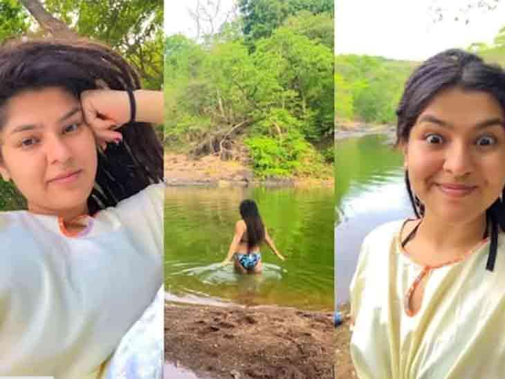 'તારક મહેતા..'ની જૂની સોનુએ બિકીની પહેરીને જંગલની વચ્ચે આવેલા તળાવમાં સ્વિમિંગ કર્યું|ટીવી,TV - Divya Bhaskar