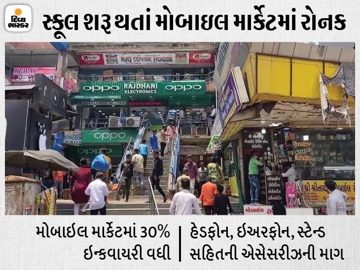 રાજ્યમાં સ્કૂલ શરૂ થતાં જ આમૂલ પરિવર્તન, બુક સ્ટોલની જગ્યાએ વાલી-વિદ્યાર્થીઓનો મોબાઈલ શોપ તરફ ધસારો વધ્યો|અમદાવાદ,Ahmedabad - Divya Bhaskar
