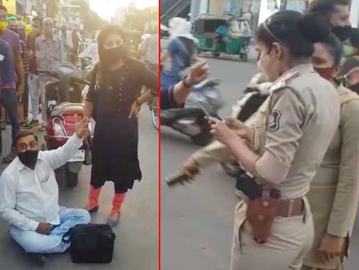રાજકોટના આમ્રપાલી બ્રીજ પાસે દંડ વસૂલતી પોલીસ અને દંપતીનું ઘર્ષણ, રોડ પર બેસી વિરોધ રાજકોટ,Rajkot - Divya Bhaskar