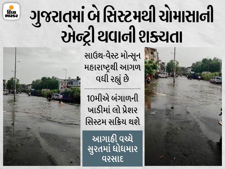 11થી 13 જૂન વચ્ચે દ.ગુજરાતમાં ચોમાસાની એન્ટ્રી થવાની શક્યતા, સુરતમાં બે કલાકમાં 1 ઇંચ વરસાદ ખાબકતાં પાણી ભરાયાં|સુરત,Surat - Divya Bhaskar