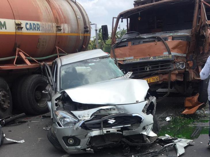 ઘલા પાટીયા પાસે એકસાથે 6 વાહન વચ્ચે અકસ્માત, એક યુવકનો પગ કાપવો પડ્યો|બારડોલી,Bardoli - Divya Bhaskar