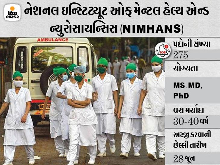 નર્સિંગ ઓફિસર સહિત વિવિધ 275 પદો માટે NIMHANSની ભરતી, 28 જૂન સુધી અરજી કરી શકાશે|યુટિલિટી,Utility - Divya Bhaskar