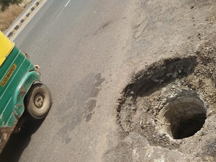 ગેબનશાપીર સર્કલથી કોઠારિયા રોડ પર હાઇવે રોડની બાજુમાં જ જોખમી ખૂલ્લી જગ્યા છે. - Divya Bhaskar