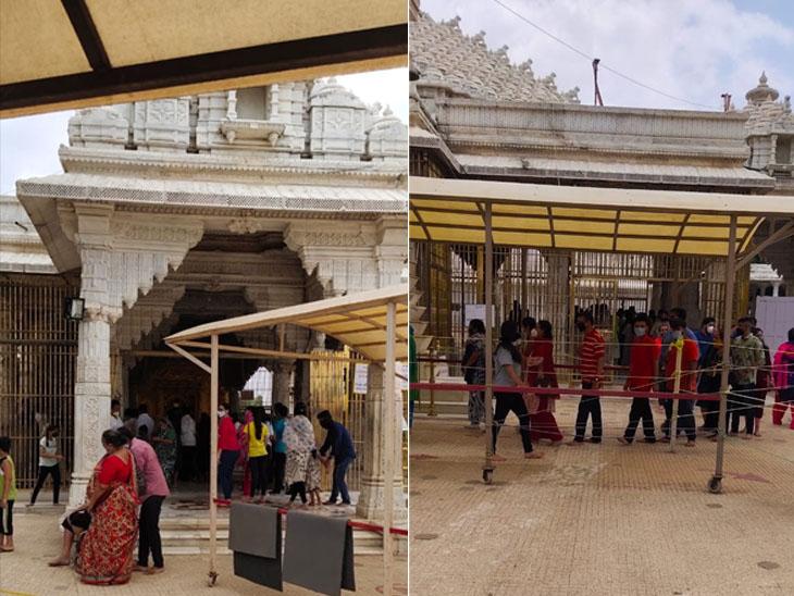 મહુડી જૈન મંદિર ખાતે રવિવારે ભક્તોનો ધસારો જોવા મળ્યો હતો. - Divya Bhaskar