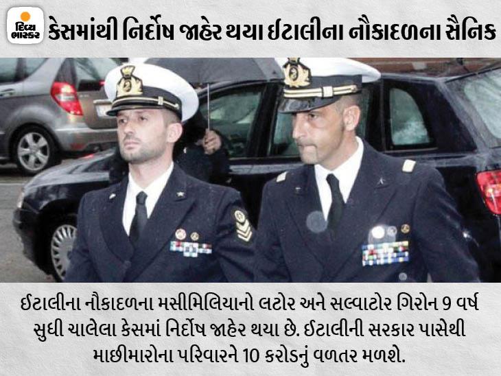 ઈટાલીની સરકારે નૌકાદળના જવાનોને બચાવવા માટે તર્ક આપતાં જણાવ્યું હતું કે તેઓ તેમનું કામ કરી રહ્યા હતા. - Divya Bhaskar