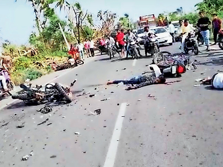અકસ્માત એટલો ભયંકર સર્જાયો હતો કે ત્રણ બાઇકો દૂર દૂર સુધી ઢસડાઇને ફેકાઇ ગઇ હતી. - Divya Bhaskar