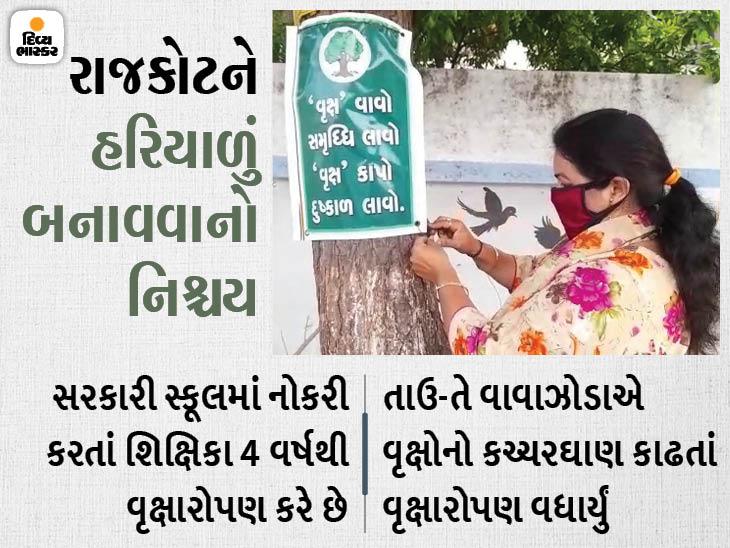રાજકોટમાં શિક્ષિકાનો અનોખો સંકલ્પ, ચોમાસામાં રોજ 6 વૃક્ષ ન વાવે ત્યાં સુધી પાણી નહીં પીવાનું, 10 હજાર રોપા તૈયાર કરી વૃક્ષારોપણનો નિર્ધાર|ઓરિજિનલ,DvB Original - Divya Bhaskar
